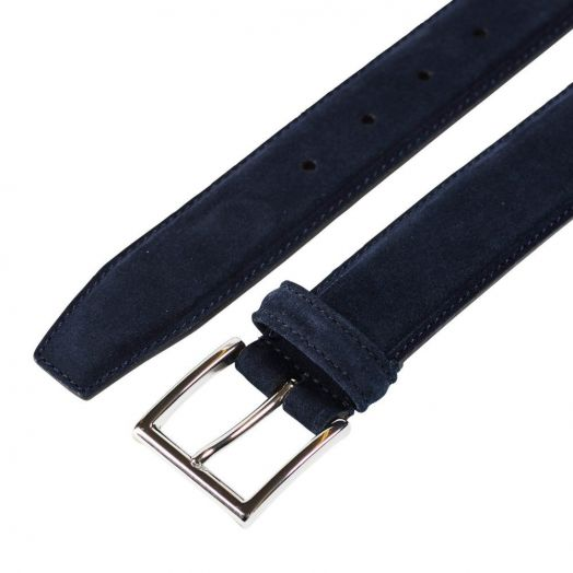 Navy Suede Belt with Silver Buckle
