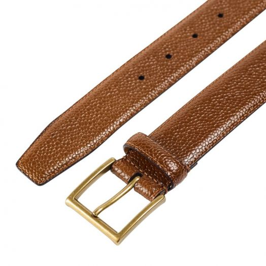 Tan Scotch Country Grain Belt with Antique Brass Buckle