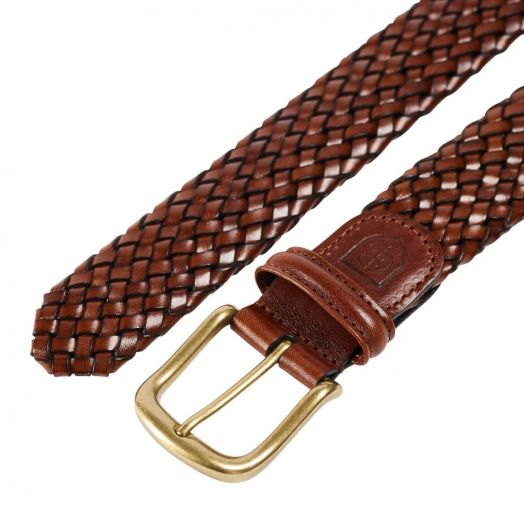 Dark Brown Woven Calf Leather Belt with Antique Brass Buckle
