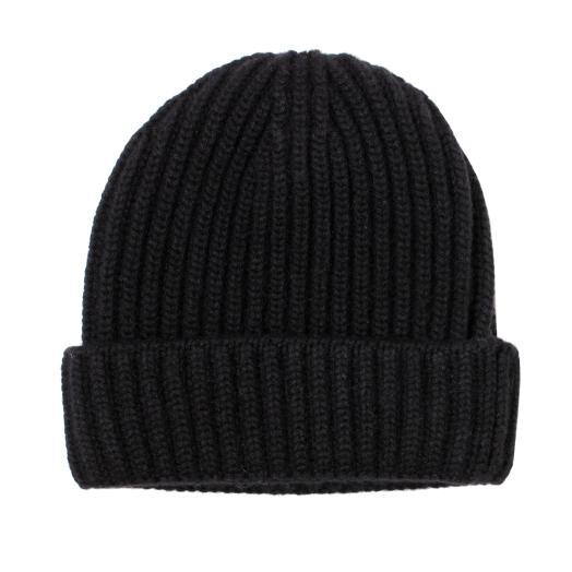 Black Fisherman Knit 8ply Cashmere Hat