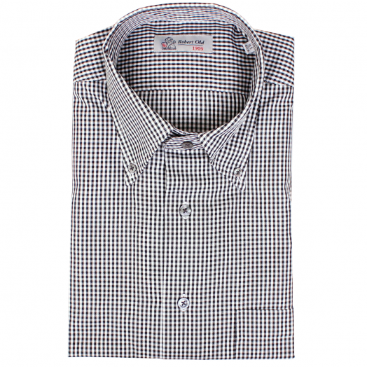 Black and White Fine Check Swiss Cotton Shirt