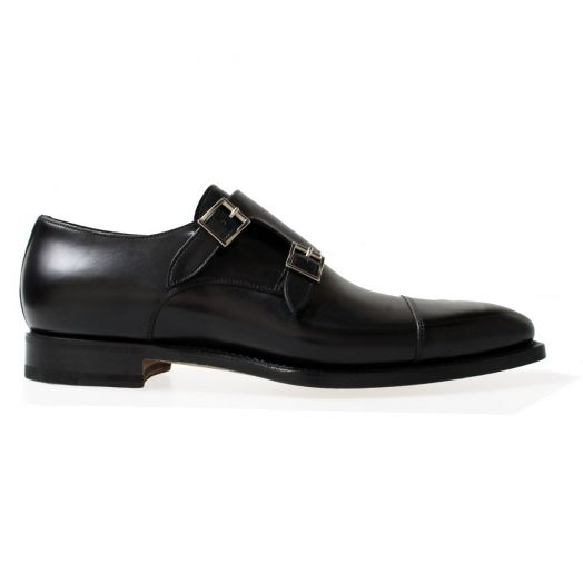 Black Double Buckle Monk Shoe