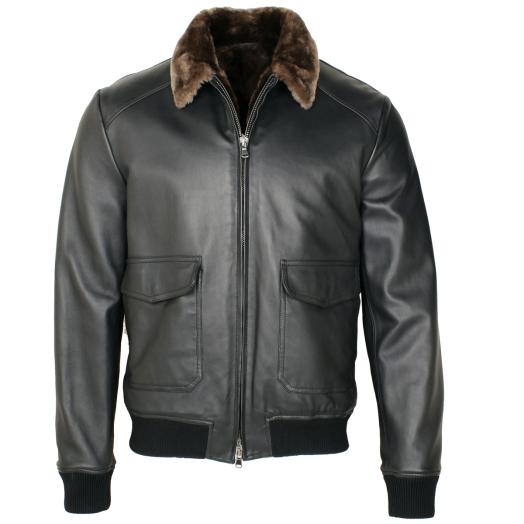 Black Leather Bomber Jacket with Beaver Fur Lining