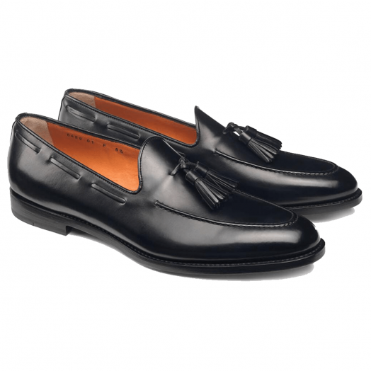Black Leather Slip On Tassel Loafer