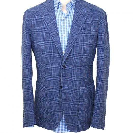 Blue & Navy Prince of Wales Check Cotton Silk Jacket
