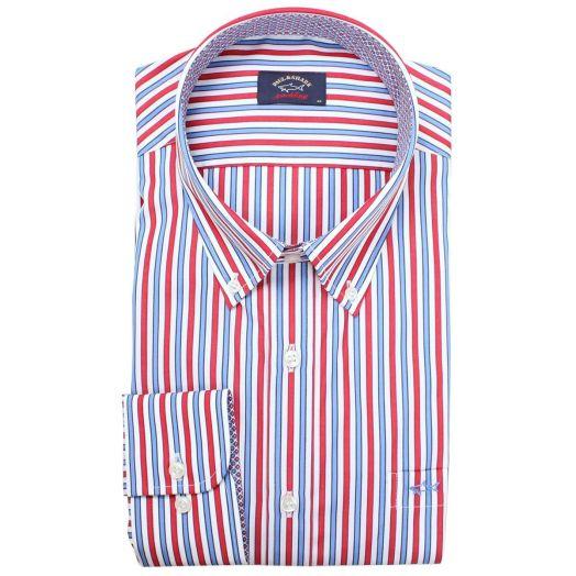Blue & Red Button-Down Striped Shirt
