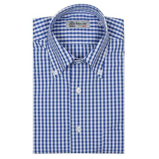 Blue & White Check Seerluxe Swiss Cotton Short Sleeve Shirt