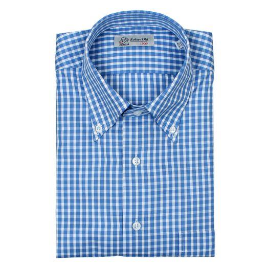 Blue & White Check Twill Soprano Swiss Cotton Shirt