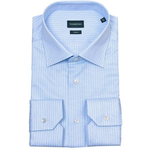 Blue & White Stripe Cotton Trofeo Business Shirt