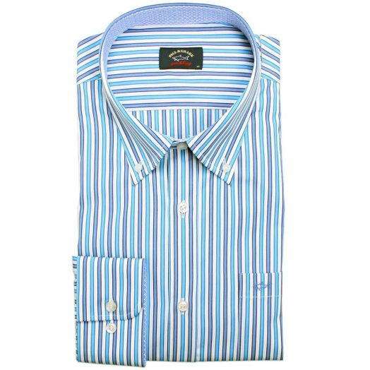 Blue Button-Down Striped Shirt