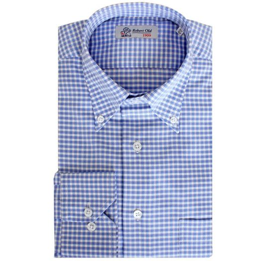 Blue Check Twill Swiss Cotton Shirt