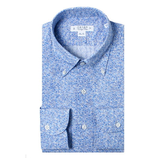 Blue Delicate Flower Print Cotton Shirt