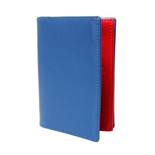 Blue Leather Bi-Fold Business Card Holder