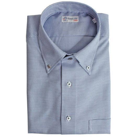 Blue Micro Print with Contrast Buttons Premium Cotton Shirt