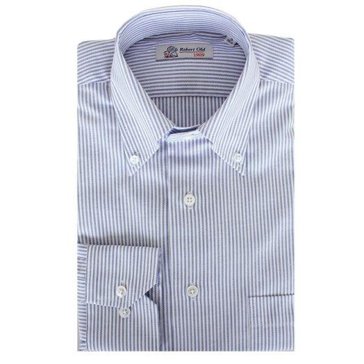 Swiss Cotton Blue Stripe Oxford Shirt