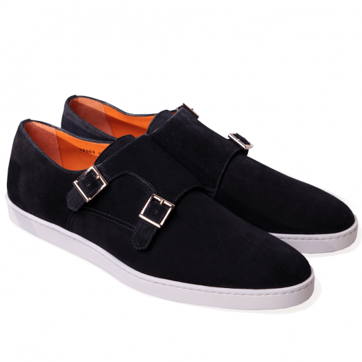 Navy Suede Double Monk Sneakers