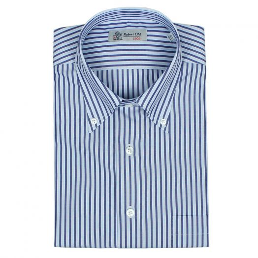 Tonal Blue Stripe Superior Swiss Cotton Short Sleeve Shirt