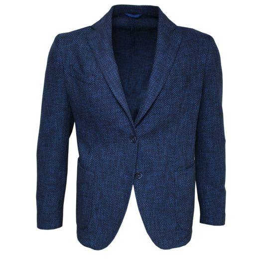 Blue Woven Textured Cotton Blend Unlined Blazer