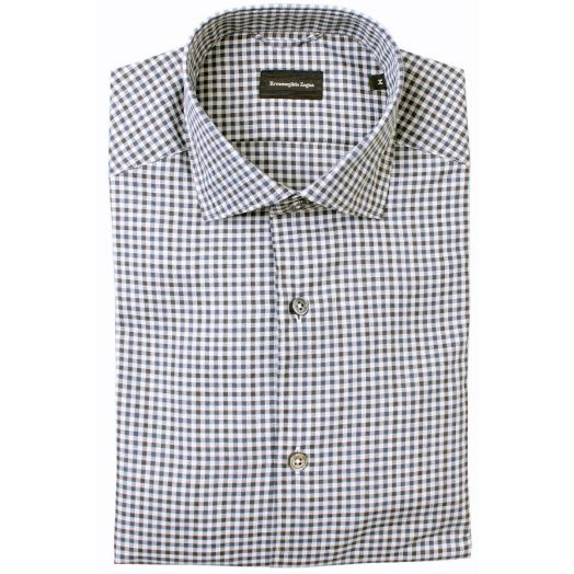 Blue, Grey & Black Cotton Check Shirt