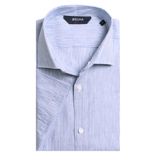 Blue Stripe Linen Blend Shirt