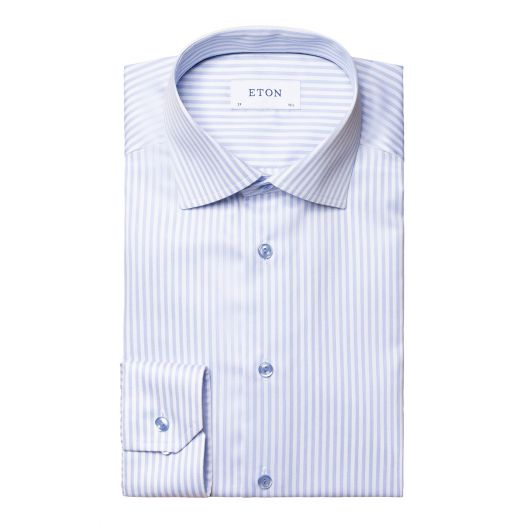 Blue Striped Signature Twill Slim Fit Shirt