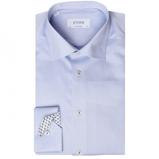 Blue Twill Contemporary Fit Shirt With Floral Details