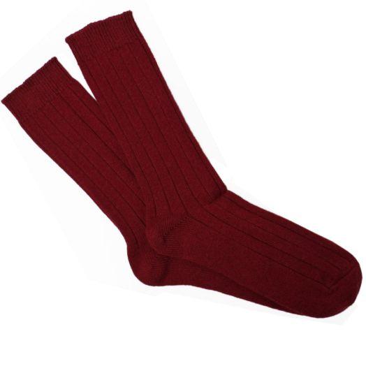 Bordeaux Ribbed Cashmere Blend Socks