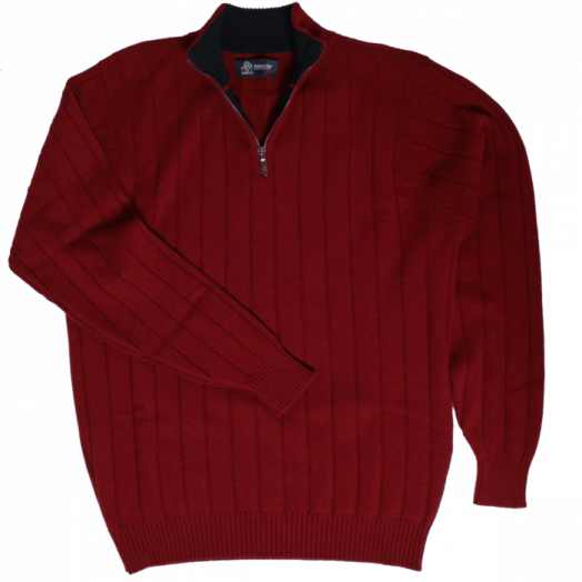 The Wellington Cashmere Ribbed Zip Neck Sweater - Bourgogne - Dark Navy