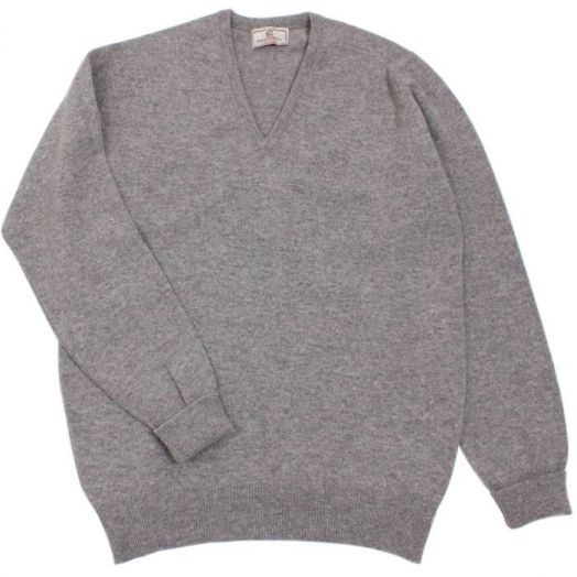 Brae 2 ply V-Neck Lambswool Sweater - Flannel Grey