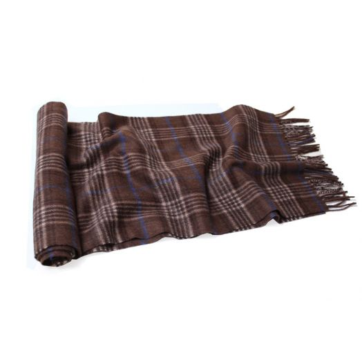 Brown and Blue Plaid Cashmere Scarf