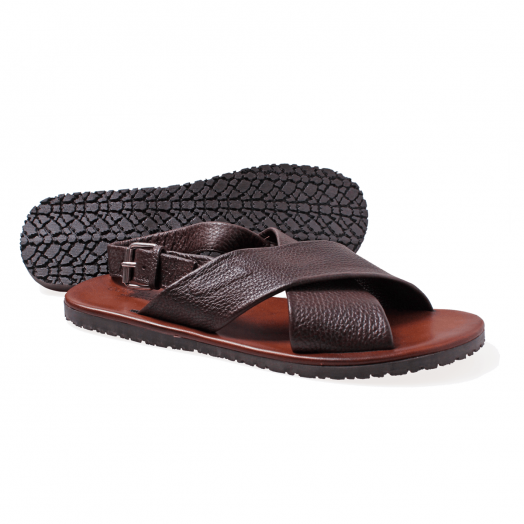 Brown Grain Leather Sandals with Strap