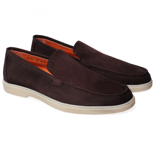 Dark Brown Suede Slip On Loafers