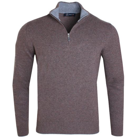Brown Virgin Wool & Cashmere Blend Zip Neck Sweater