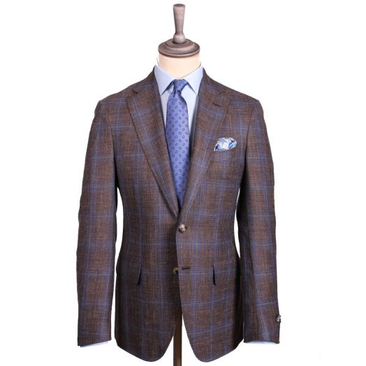 Brown & Blue Check Wool Linen Blend Blazer
