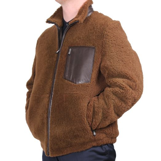 Brown Reverse Shearling Bomber with Leather Details