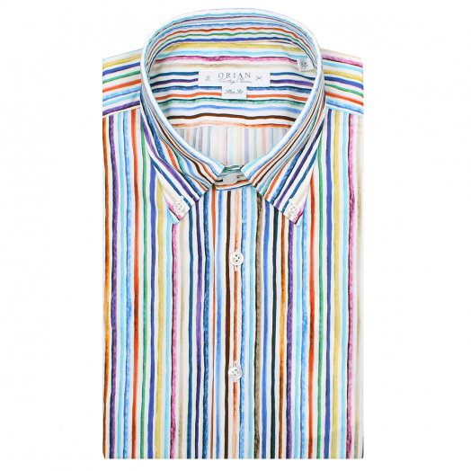 Candy Stripe Print Cotton Shirt