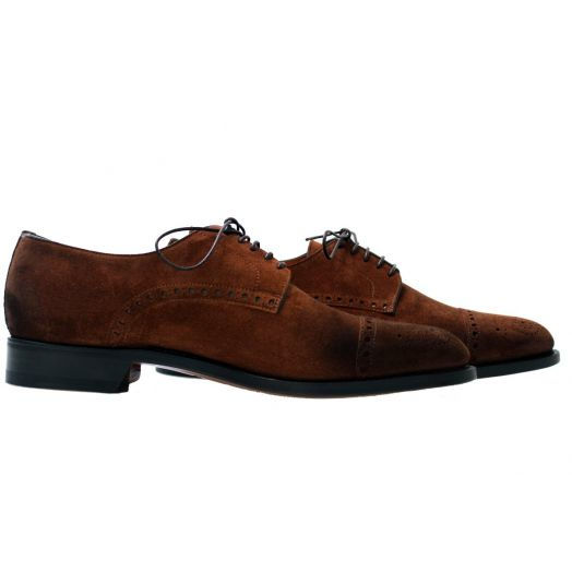 Brown Suede Lace Up Brogue Derby Shoe