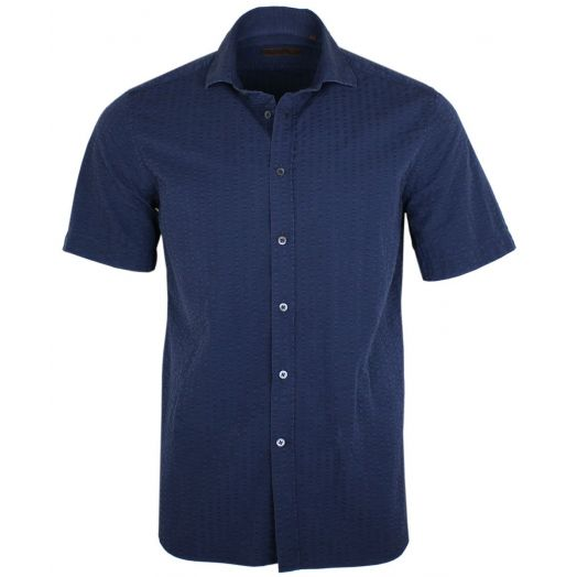 Navy Seersucker Cotton Short Sleeve Shirt