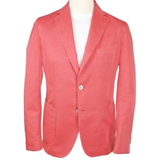 Coral Red Cotton Blend Unlined Jacket