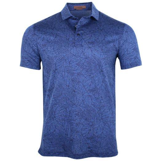 Blue Leaf Print Lightweight Polo Shirt
