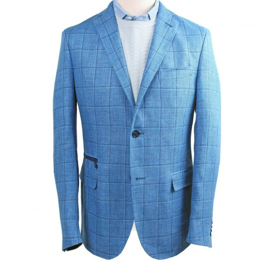Light Blue Check Single Breasted Virgin Wool Blend Jacket