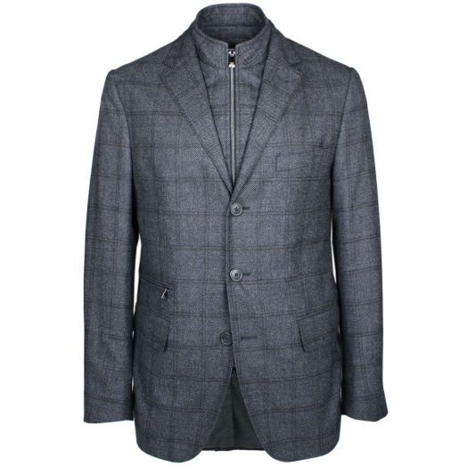 Charcoal Checked Layered ID Blazer
