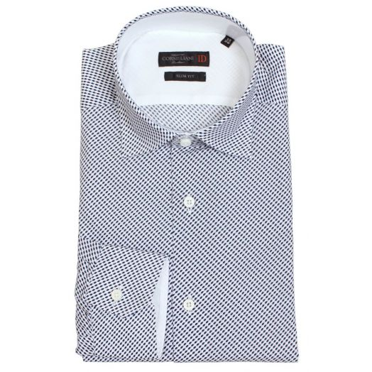 White and Blue Micro Pattern Slim Fit Cotton Shirt