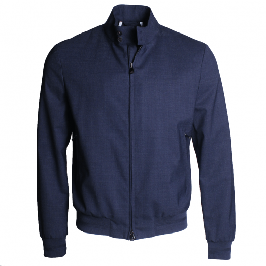 Denim Blue Wool Technical Bomber Jacket
