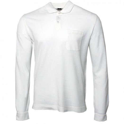 White Cotton & Wool Blend Long Sleeve Polo Shirt