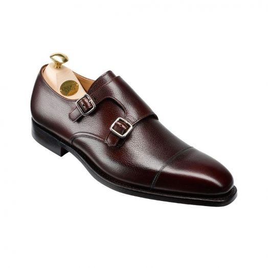 Lowndes Pebble Grain Double Buckle Monk Shoes