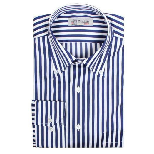 Dark Blue Stripe Premium Cotton Shirt