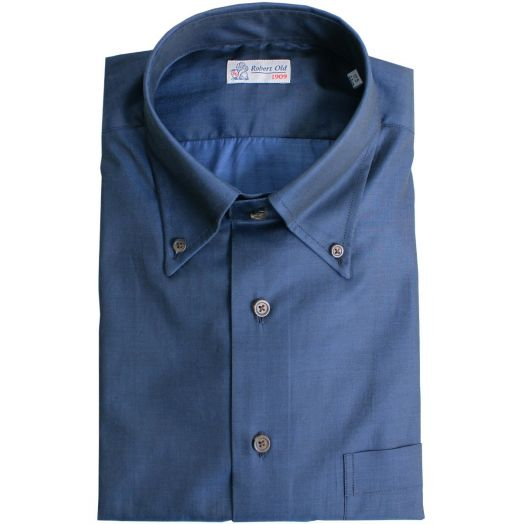 Dark Blue with Contrast Button Premium Cotton Shirt