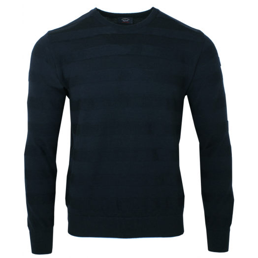 Dark Navy Virgin Wool Crew Neck Sweater