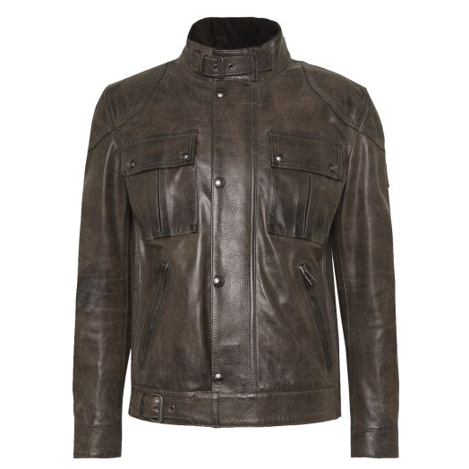 Sage Green Gangster 2.0 Leather Jacket